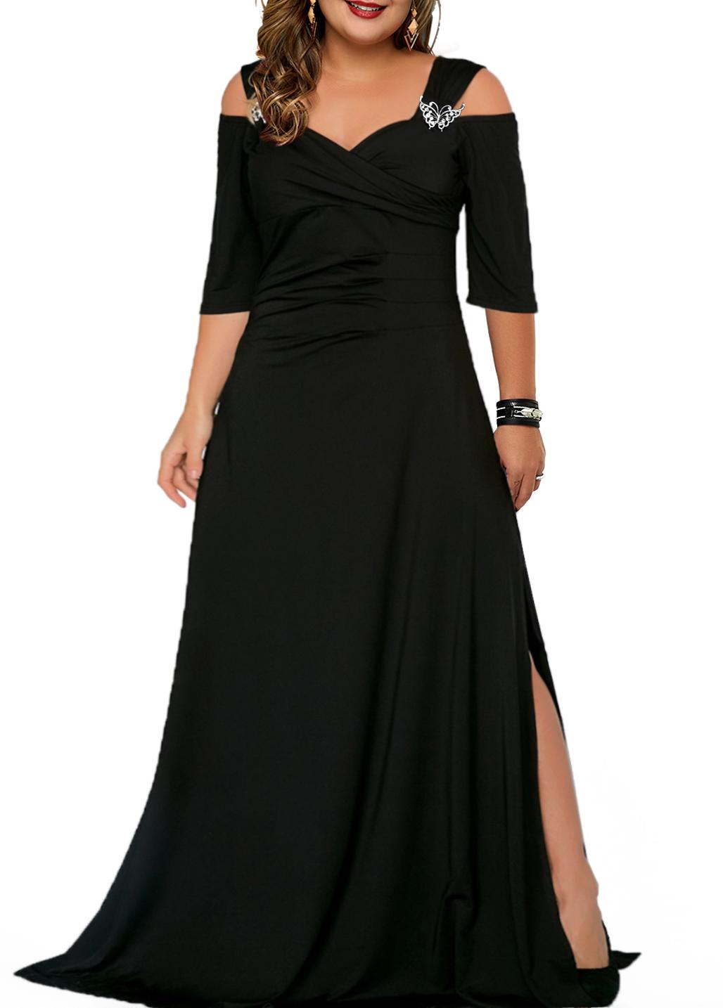 ROTITA Plus Size Cold Shoulder Solid Dress