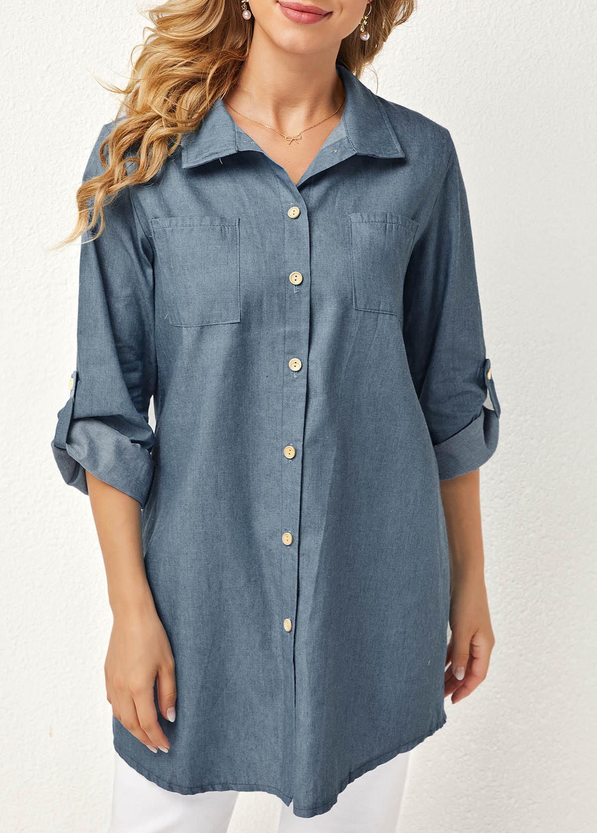 Solid Double Pocket Turndown Collar Blouse