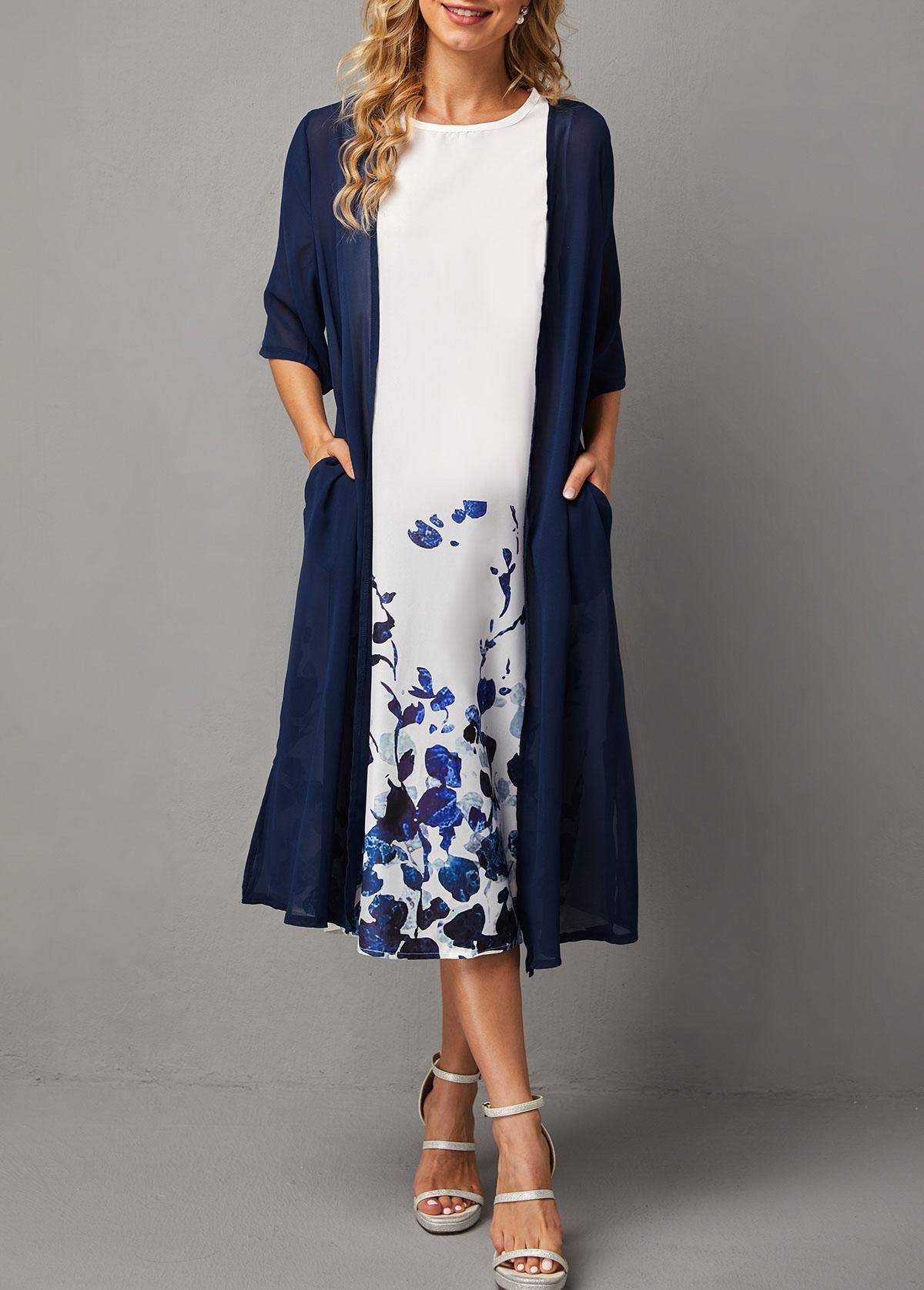 Chiffon Solid Cardigan and Sleeveless Floral Print Dress