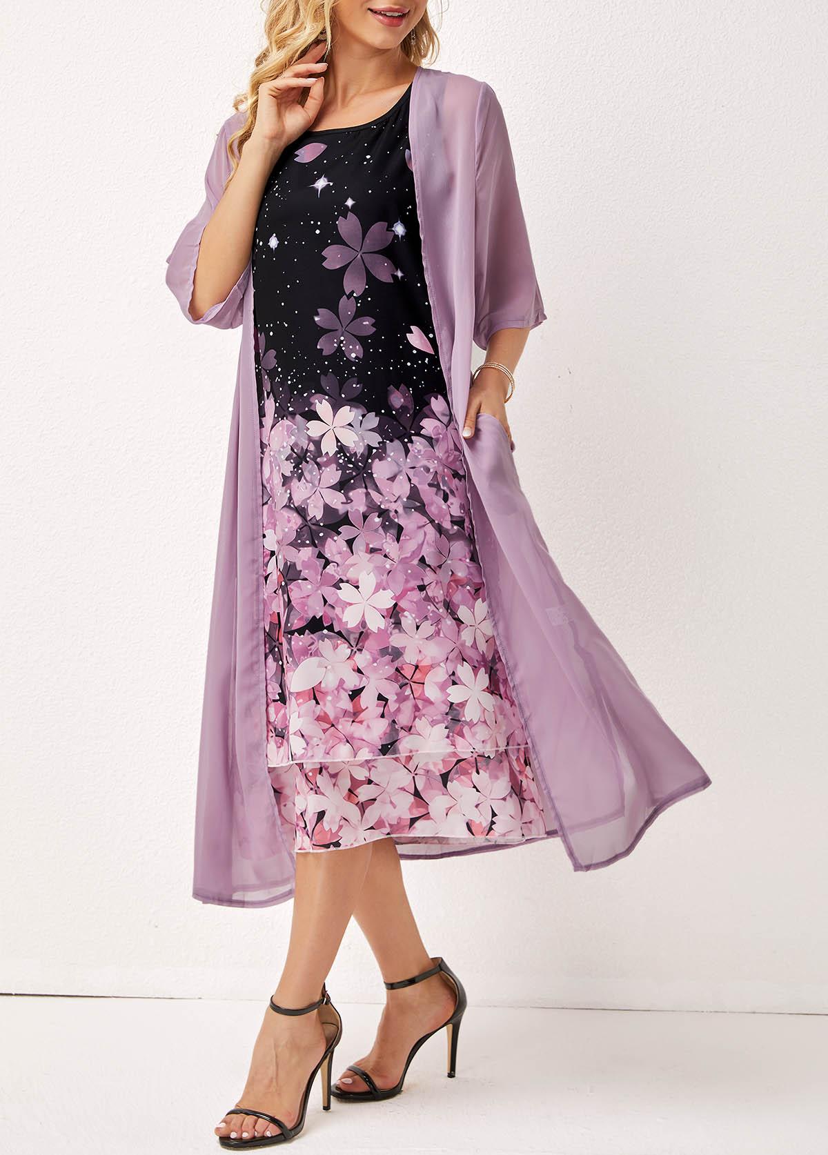 Floral Print Layered Round Neck Three Quarters Sleeve Dress