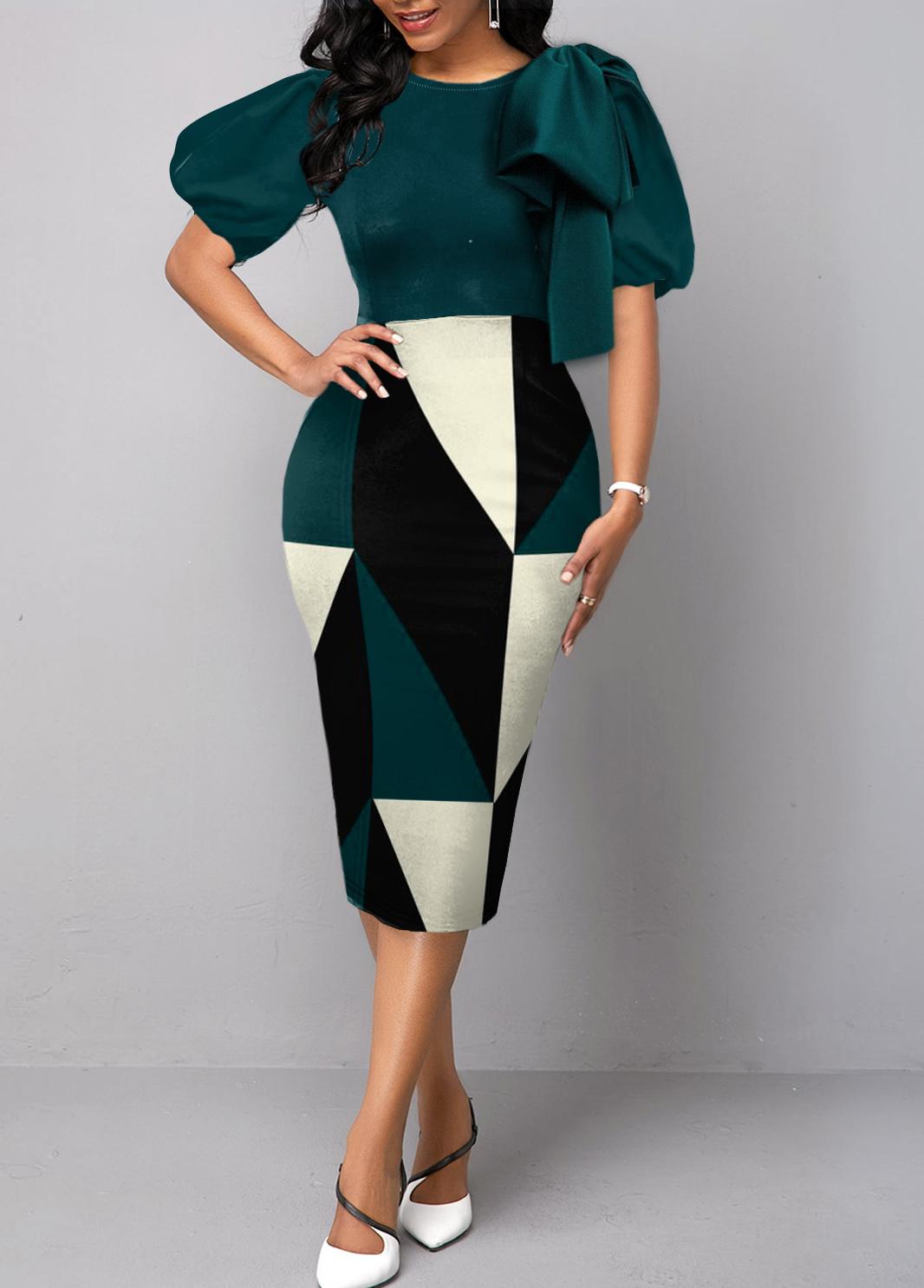 ROTITA Bowknot Geometric Print Short Sleeve Bodycon Dress