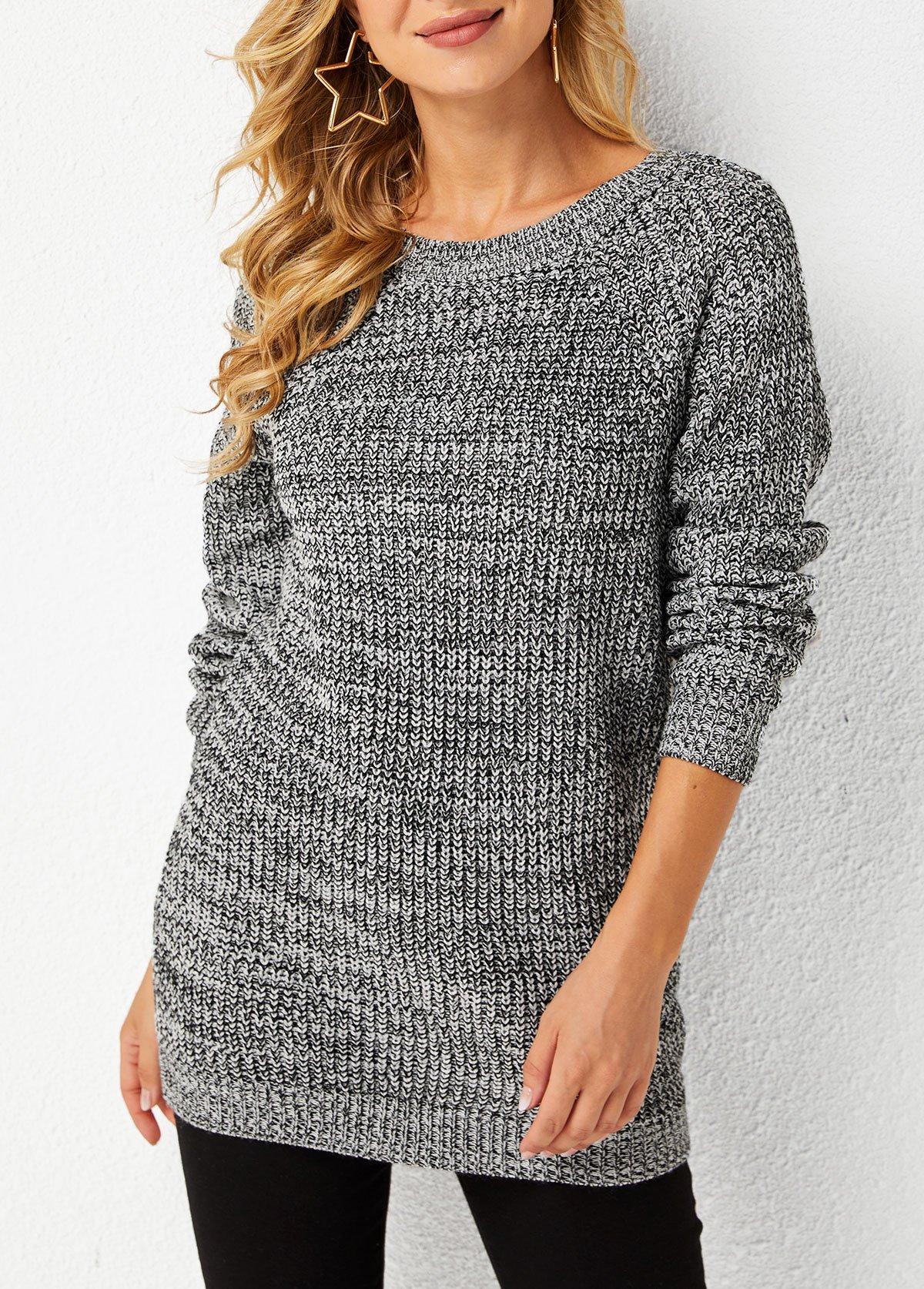 ROTITA Round Neck Bowknot Detail Long Sleeve Sweater