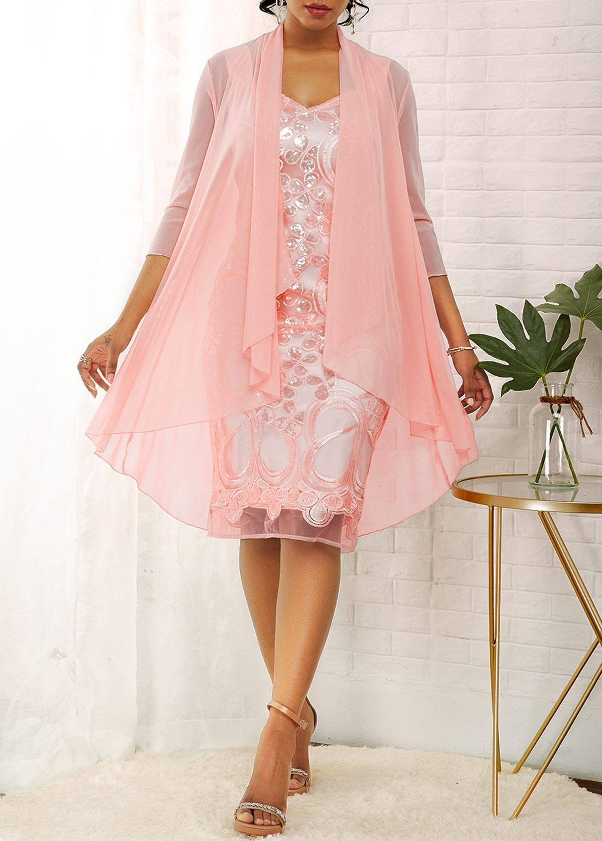 ROTITA Solid Cardigan and Glitter Fabric Stitching Dress