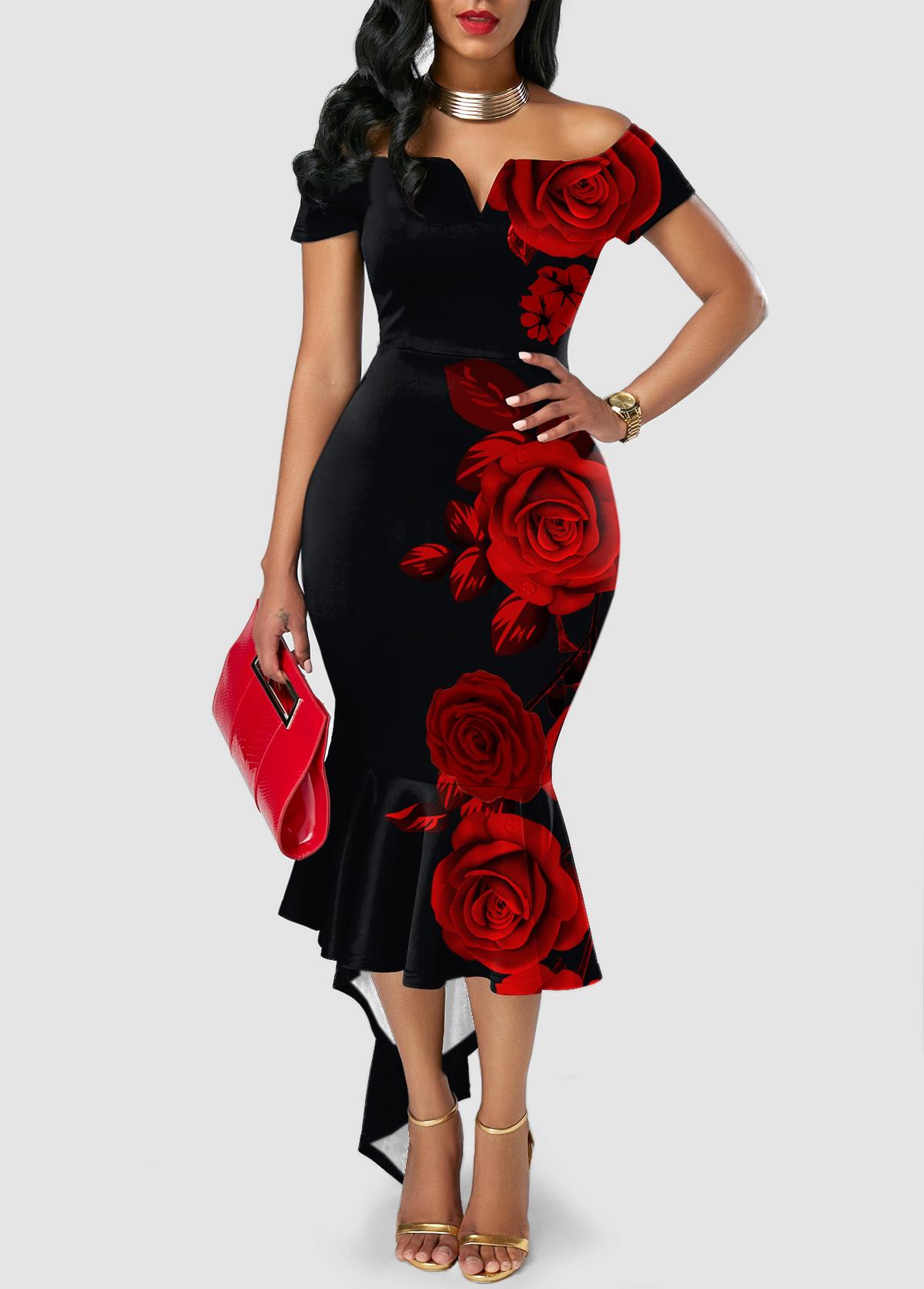 ROTITA Sweetheart Neckline Asymmetric Hem Floral Print Dress
