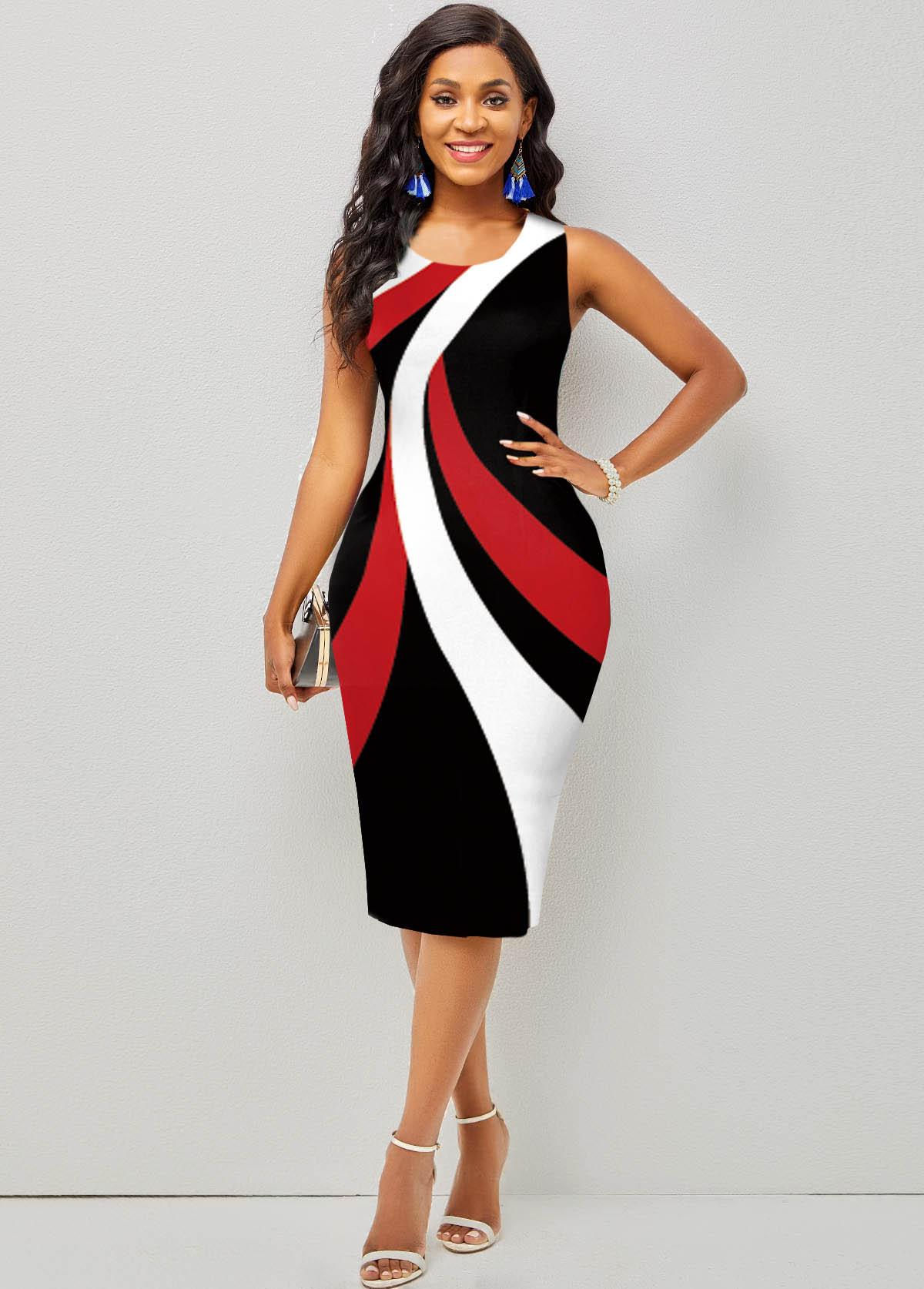 ROTITA Round Neck Contrast Printed Sleeveless Dress