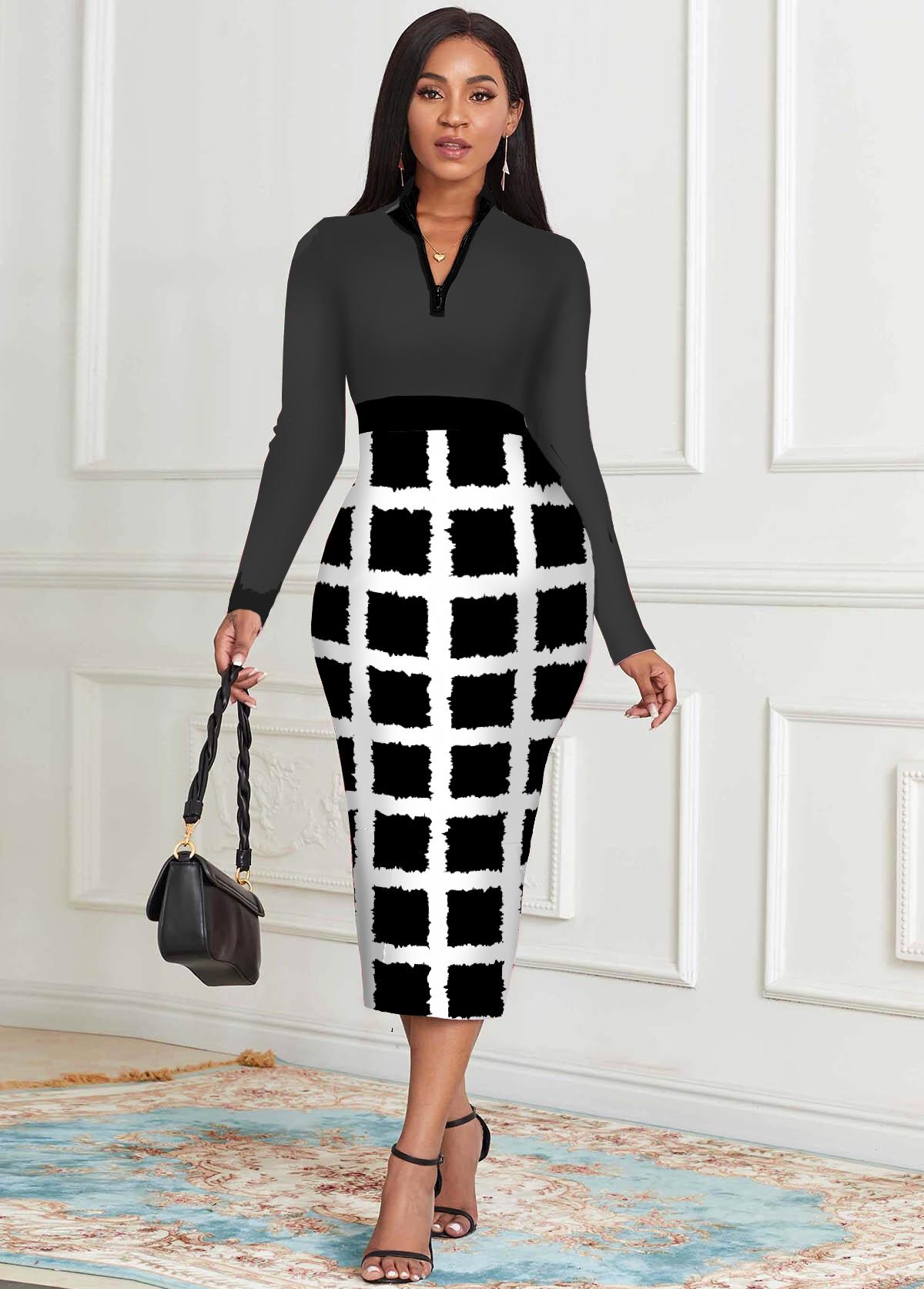 ROTITA Checkered Zipper Detail Long Sleeve Dress