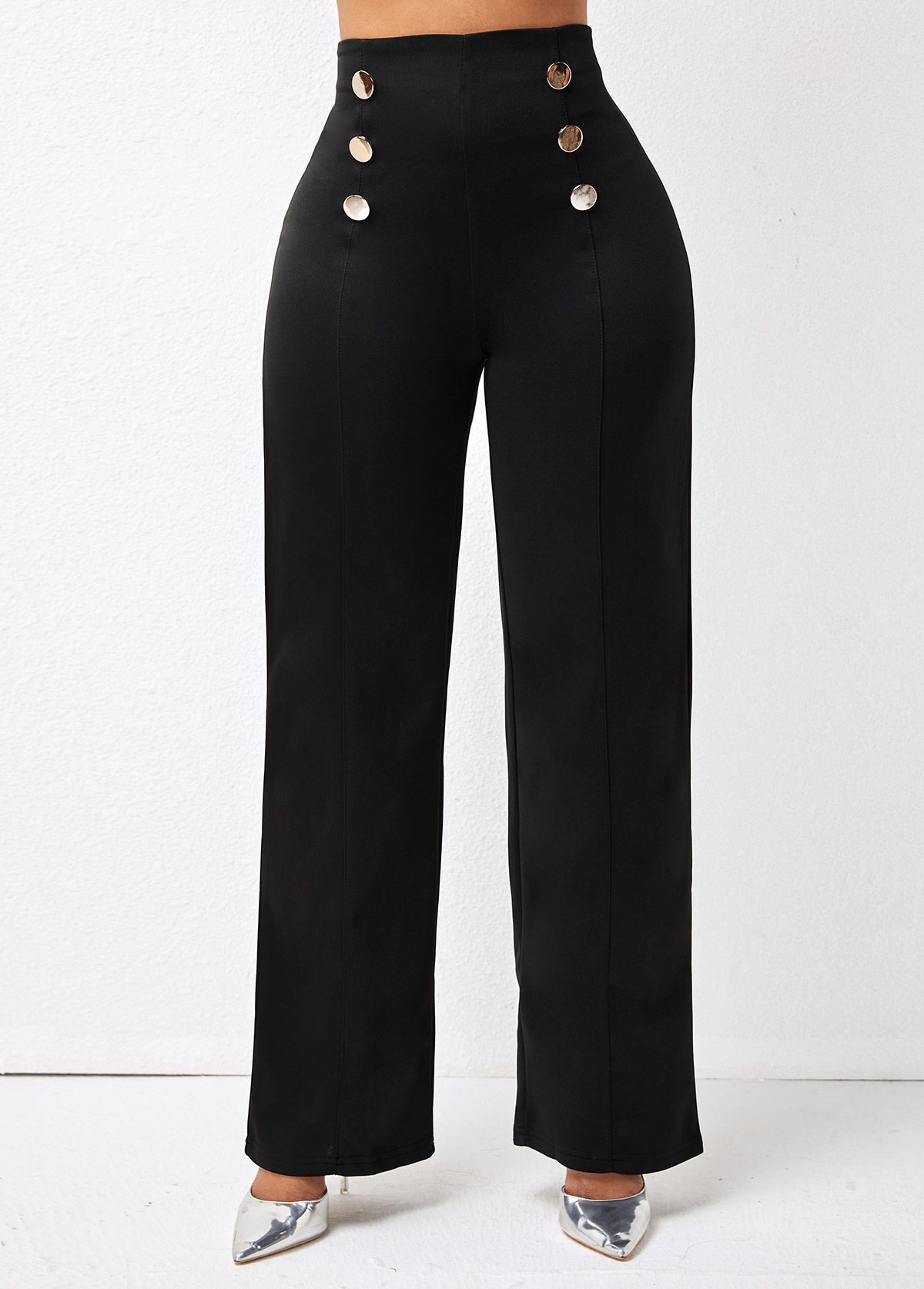 High Waist Double Breasted Solid Pants