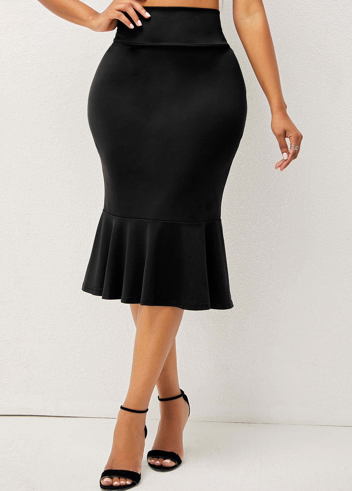 ROTITA Solid High Waisted Elastic Detail Mermaid Skirt