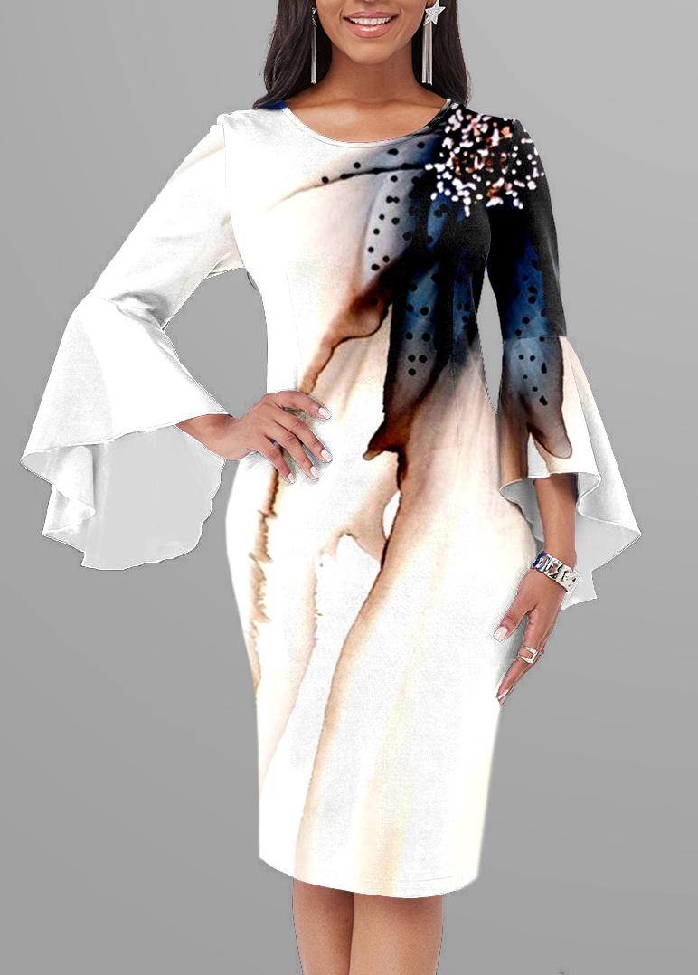 ROTITA Round Neck Ink Painting Bodycon Dress