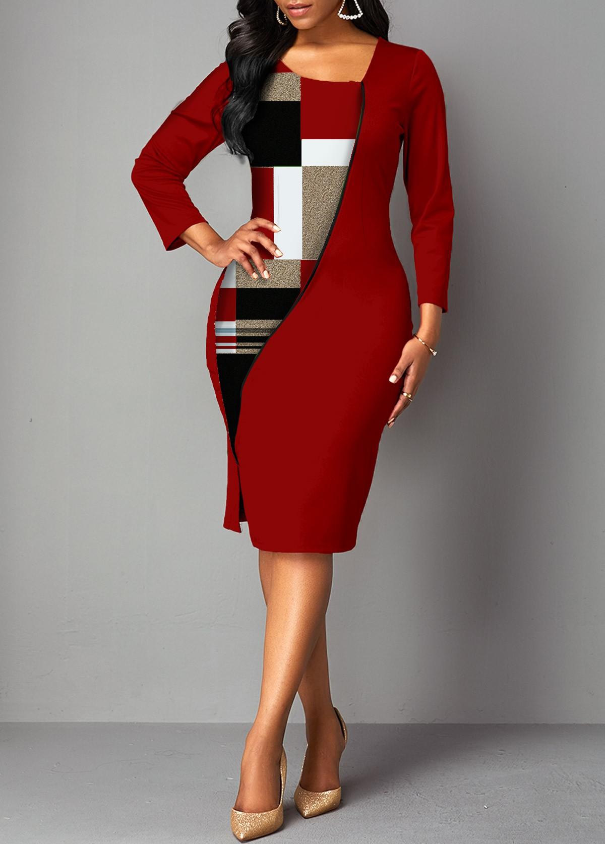 ROTITA 3/4 Sleeve Plaid Side Slit Bodycon Dress