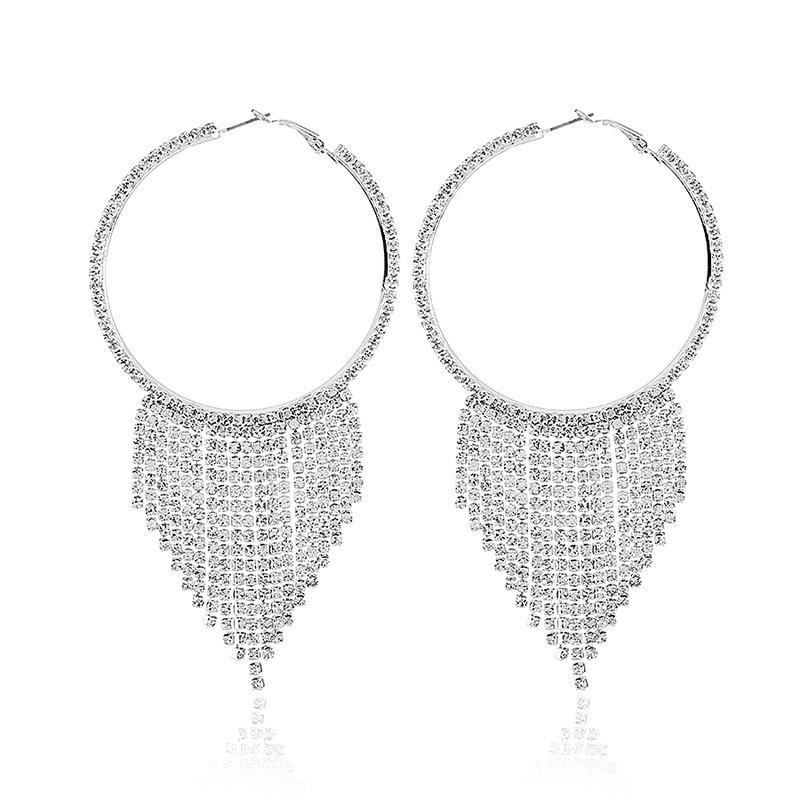 Tassel Circular Design Rhinestone Earring Set