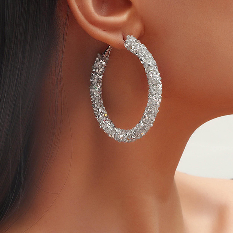 Metal Detail Silver Rhinestone Design Earring Set