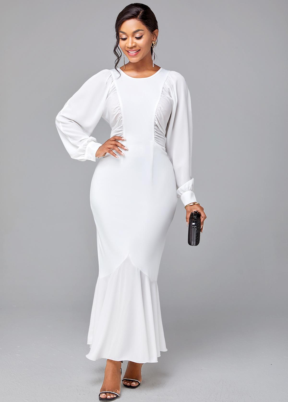 ROTITA Solid Round Neck Long Sleeve Mermaid Dress