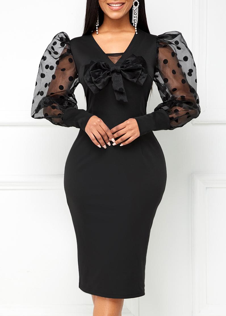 ROTITA Mesh Stitching Bowknot Puff Sleeve Dress