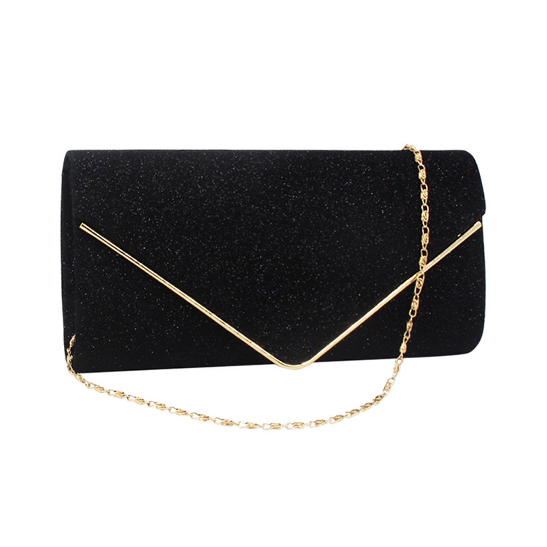 Chain Glitter Fabric Metal Detail Evening Bag