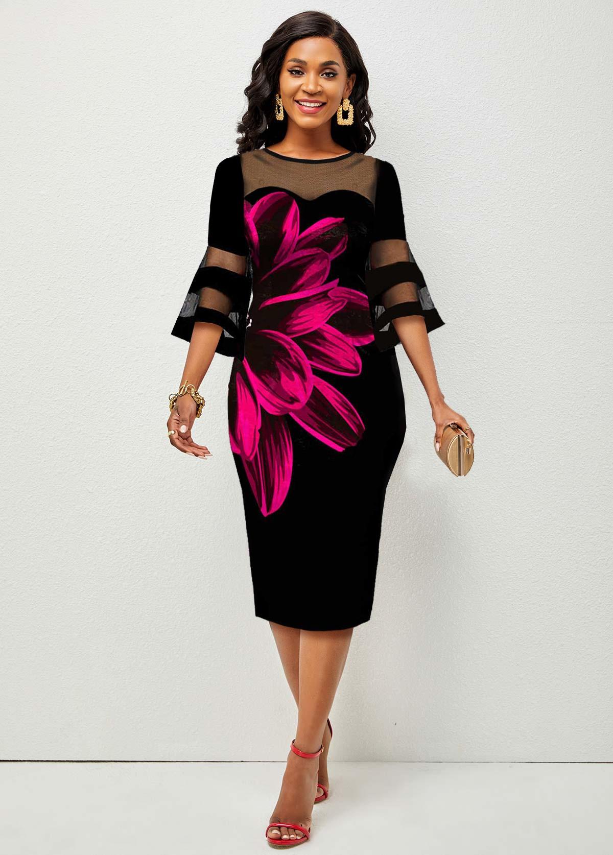 ROTITA Mesh Stitching Floral Print Flare Sleeve Dress