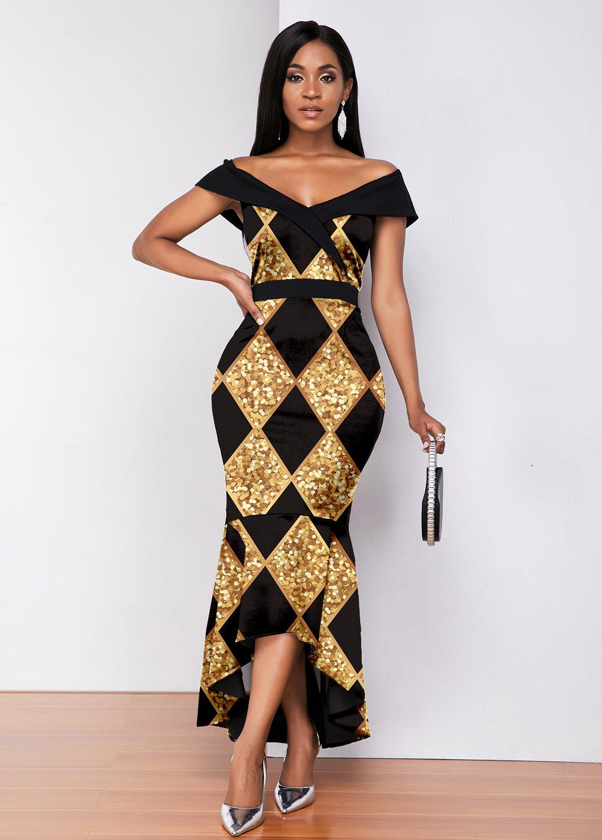 ROTITA Off Shoulder Plaid Printing Mermaid Dress
