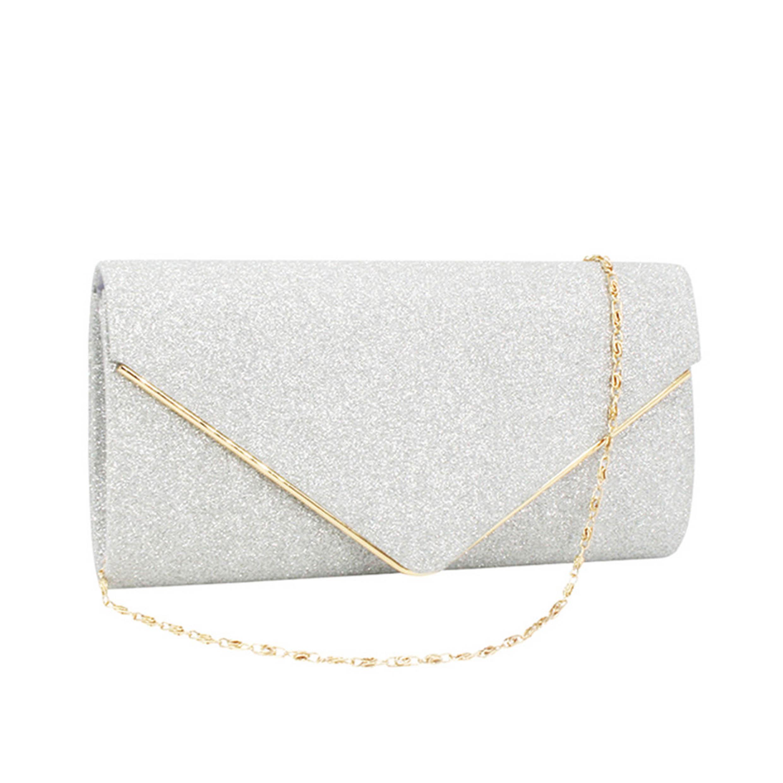 Silver Gold Chain Design Glitter Fabric Evening Bag