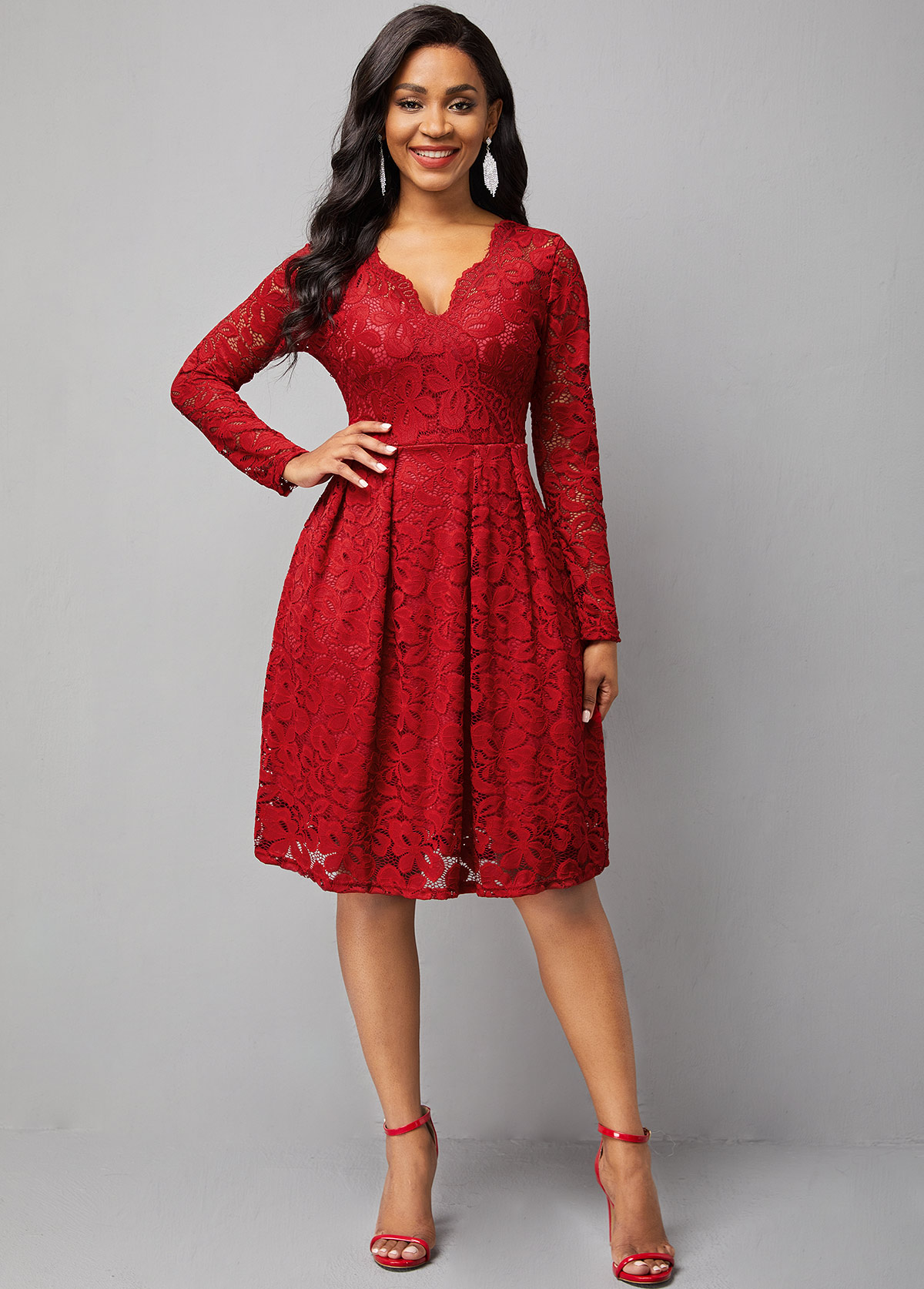 Long Sleeve Lace Solid Asymmetrical Neck Dress