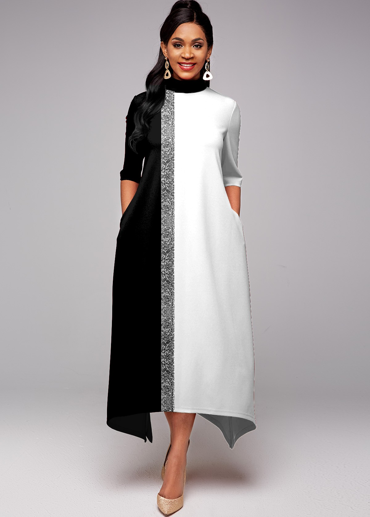 ROTITA Sequin Double Side Pocket Contrast Dress