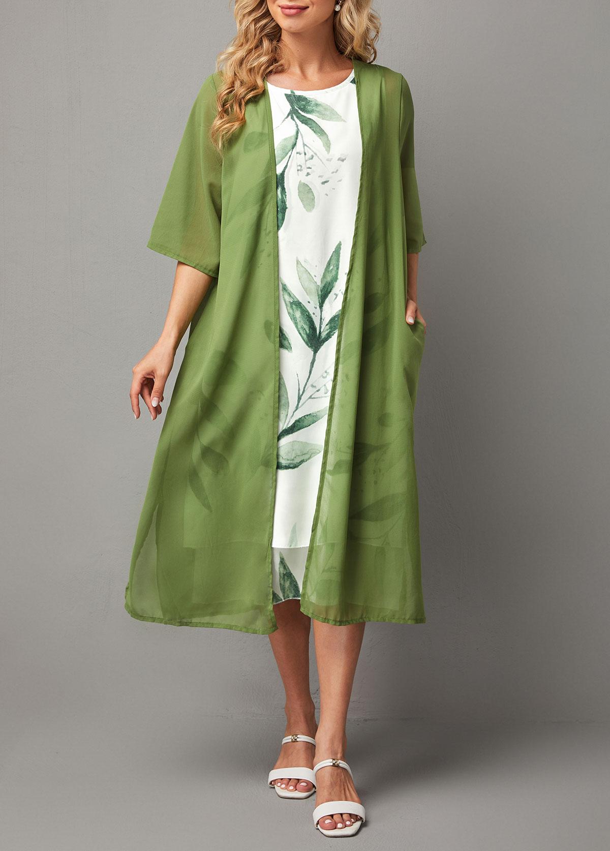 Pocket Solid Cardigan and Leaf Print Dress