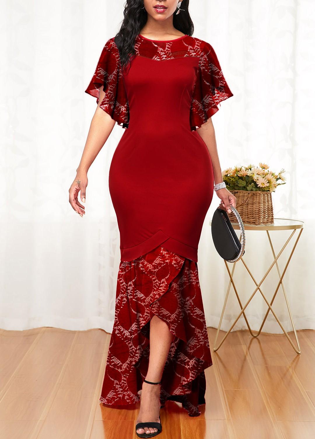 ROTITA Lace Stitching Butterfly Sleeve Crossover Hem Mermaid Dress