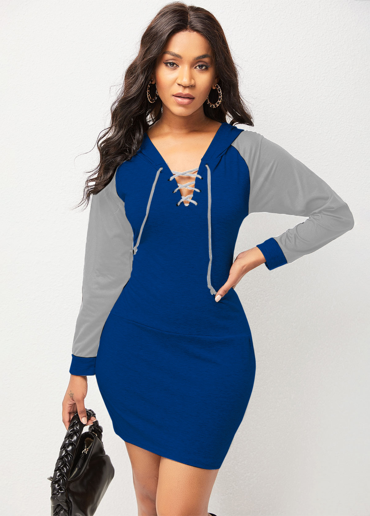Hooded Collar Lace Up Long Sleeve Bodycon Dress
