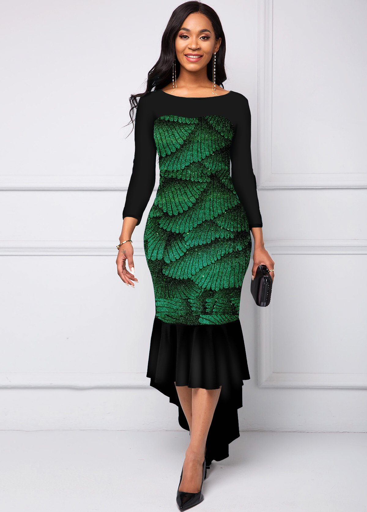 ROTITA Foil Printing Three Quarters Sleeve Dress