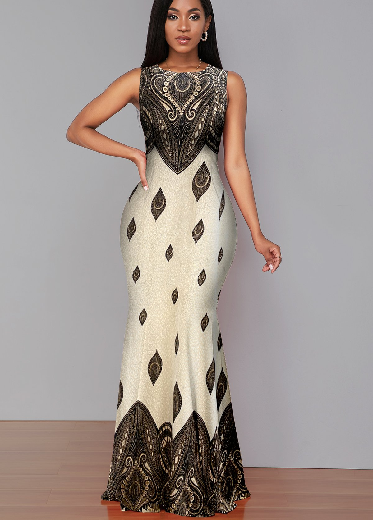 ROTITA Round Neck Criss Cross Back Sleeveless Dress