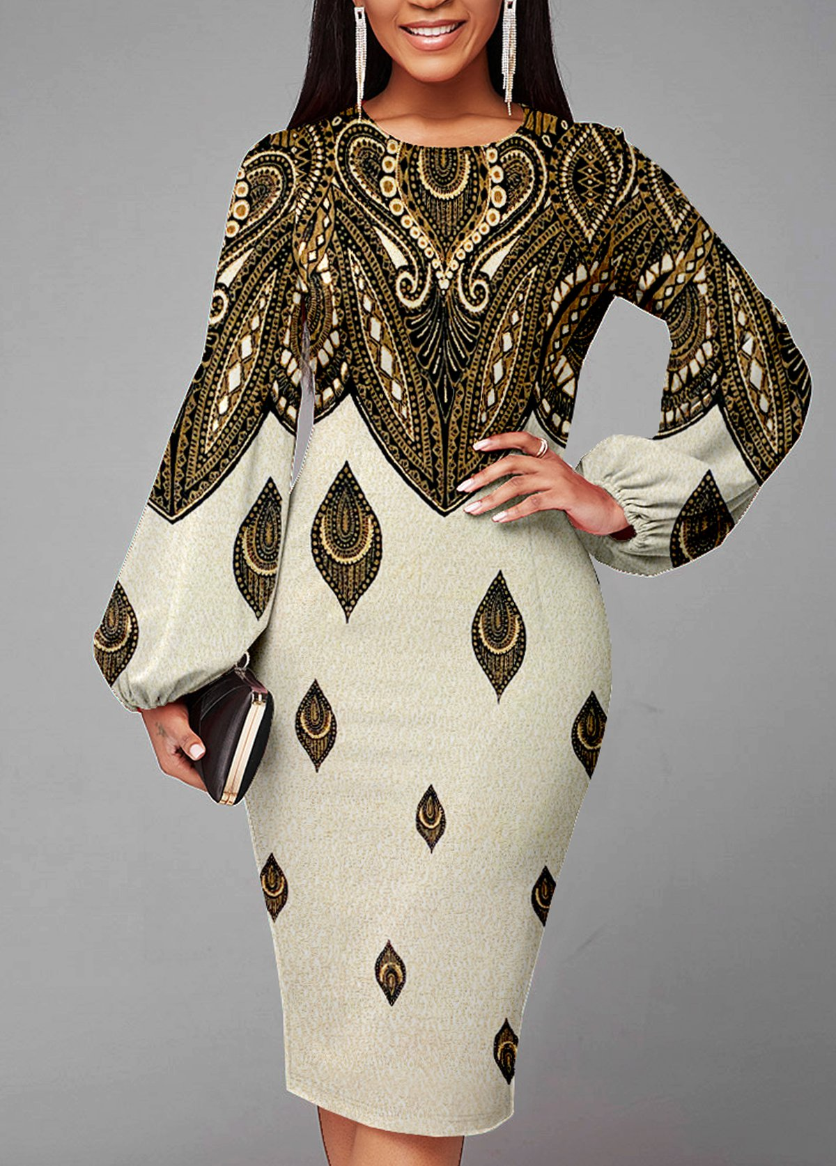 ROTITA Foil Print Lantern Sleeve Texture Knitted Dress