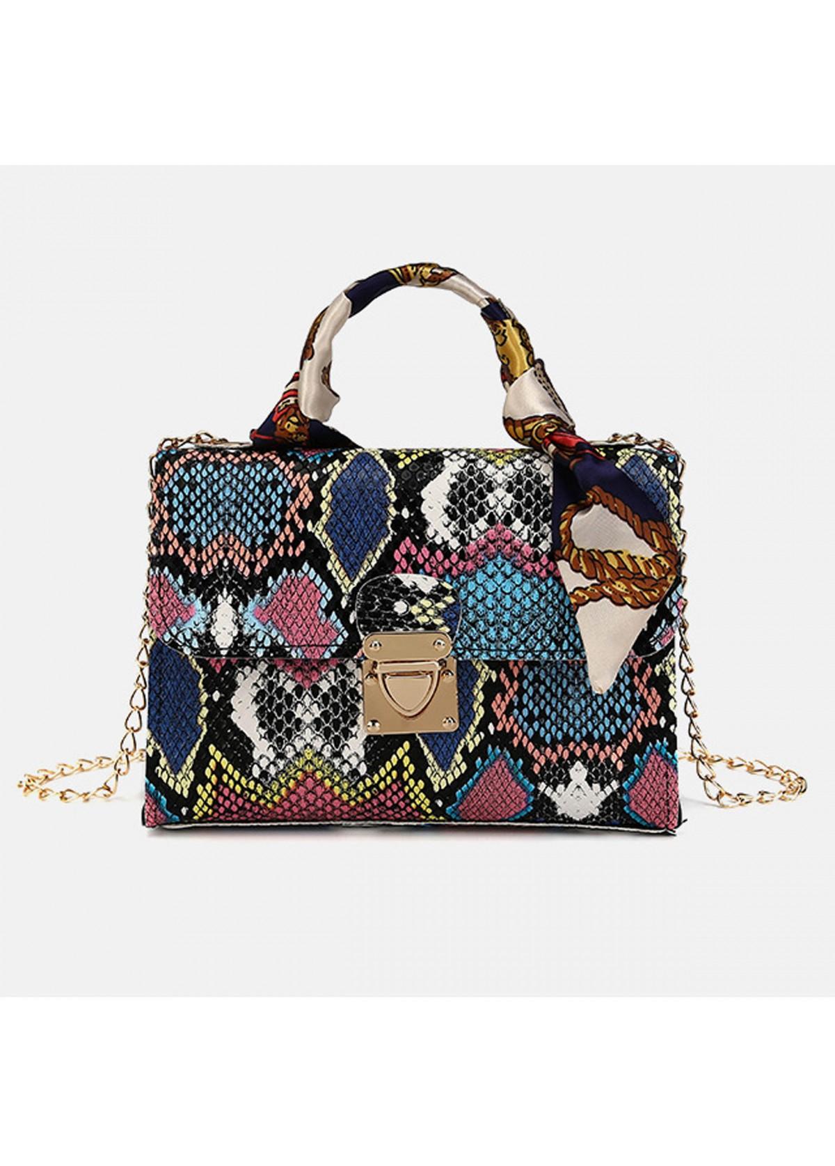 Gold Chain Snake Print PU CrossBody Messenger Bag