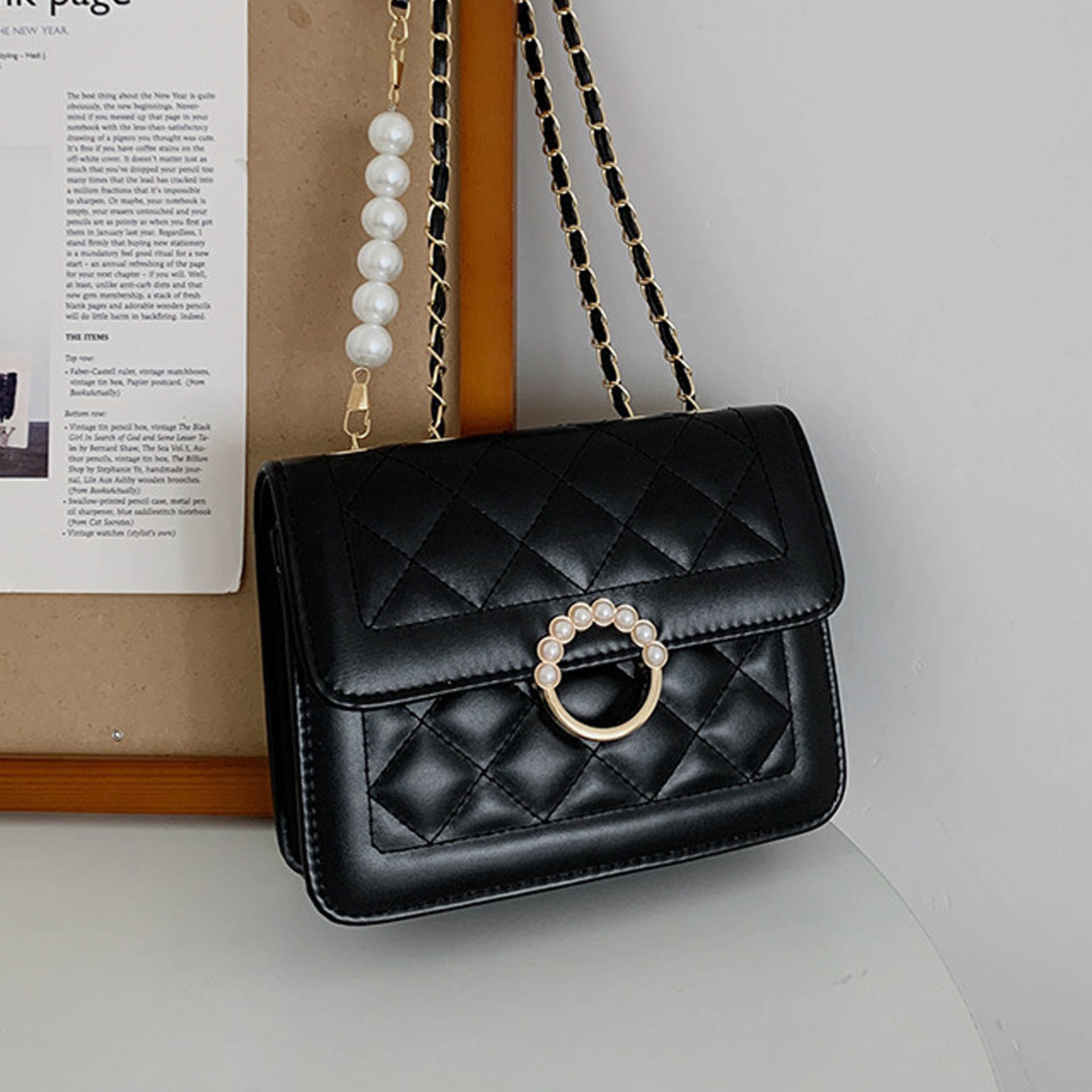 Gold Chain Pearl Black Evening Bag