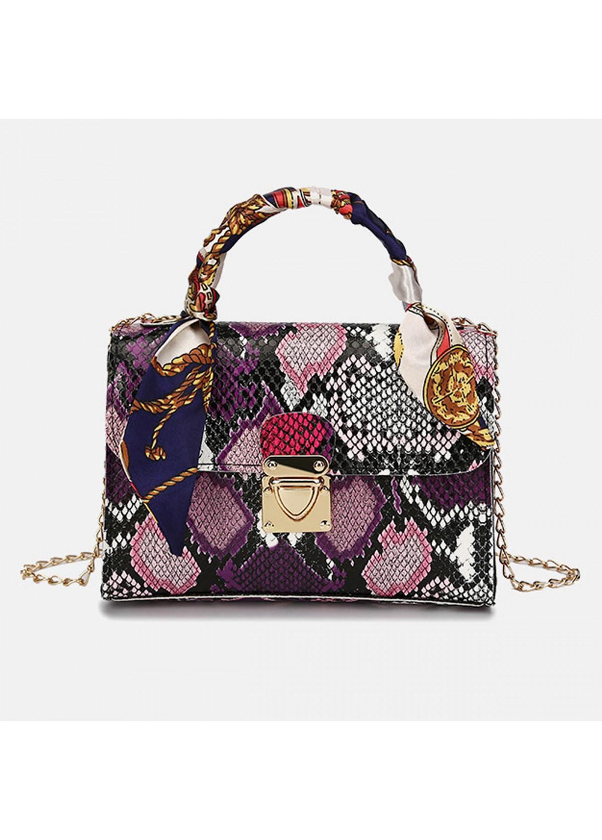 PU Snake Print Gold Chain CrossBody Messenger Bag