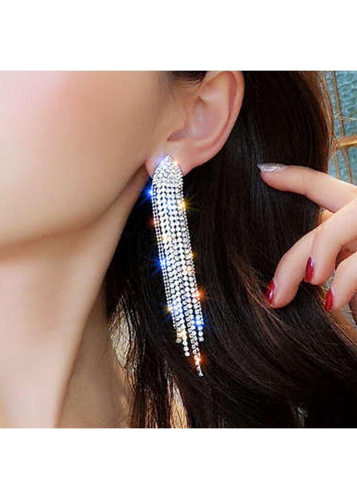 Rhinestone Silver Tassel Design Earring set
