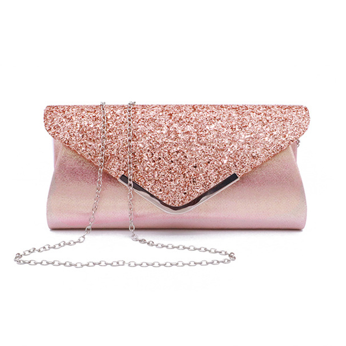 Chain Detail Shining Design Solid Evening Bag