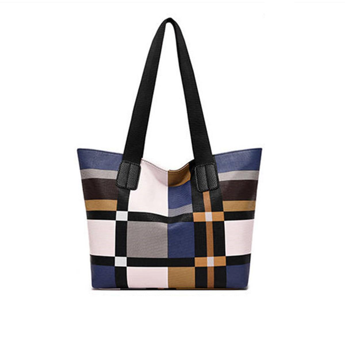 Wide Strap Plaid Zipper Closure Tote Bag