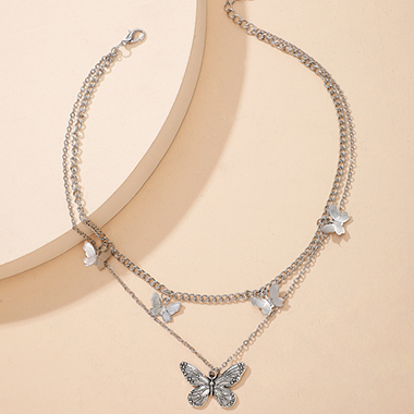 Layered Design Butterfly Detail Silver Necklace