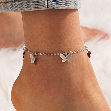 Metal Detail Silver Butterfly Design Anklet