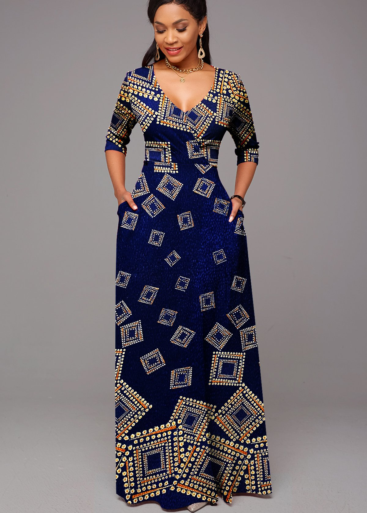 ROTITA Geometrical Pattern Foil Print 3/4 Sleeve Wrap Dress