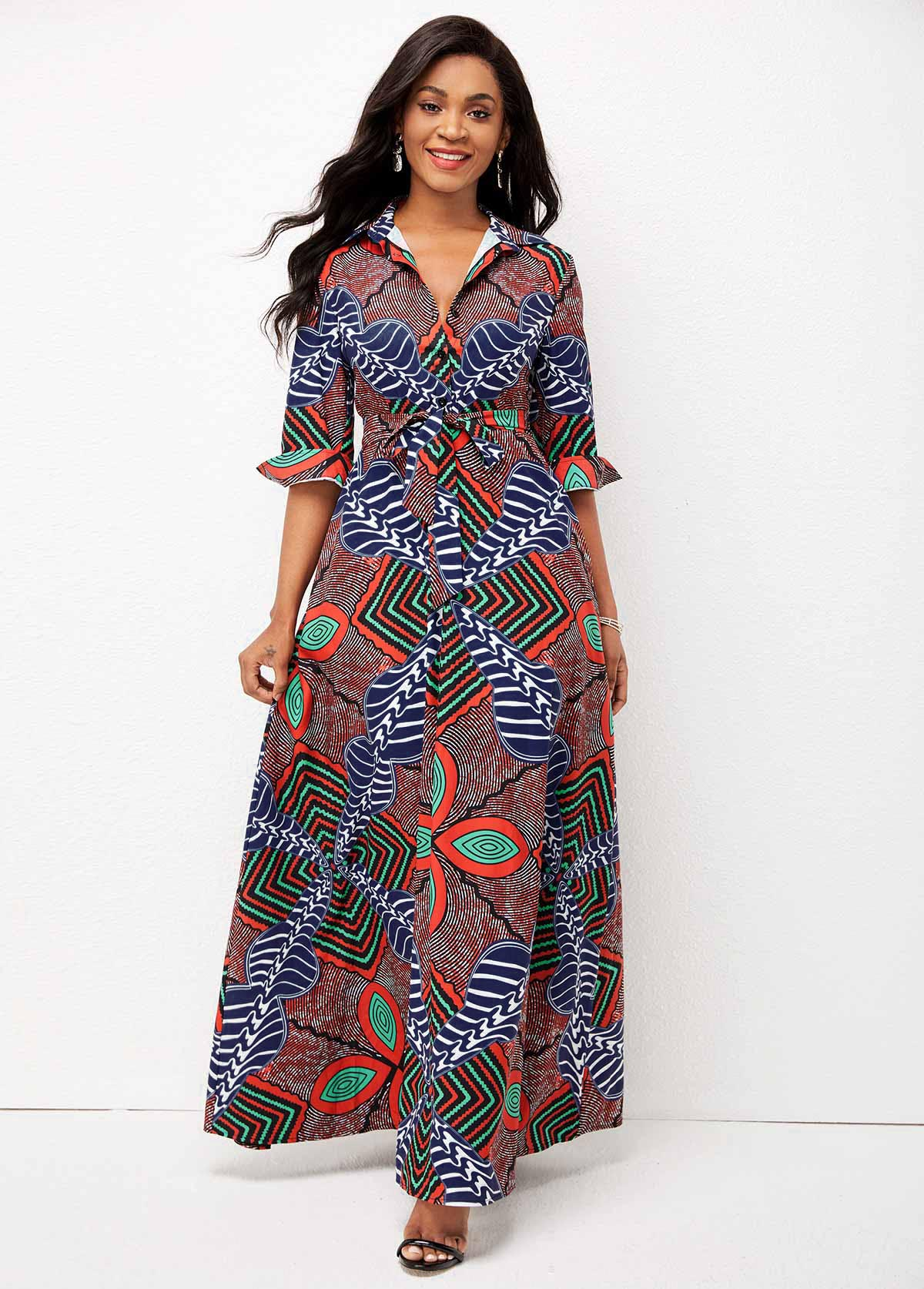 ROTITA Belted Tribal Print Double Side Pockets Dress