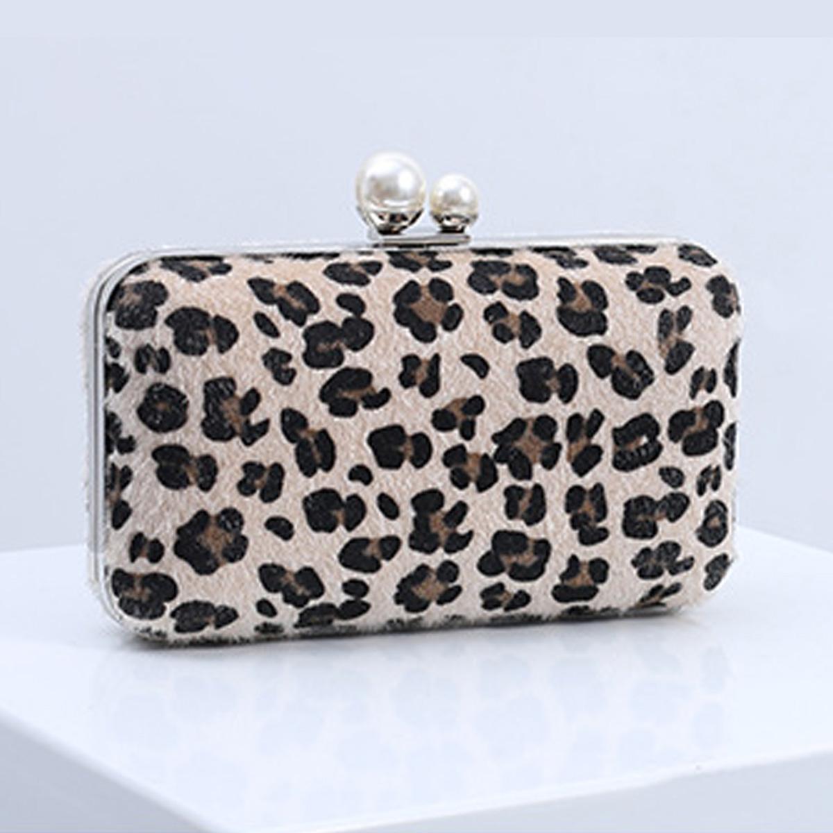 PU Leopard Metal Detail Evening Bag