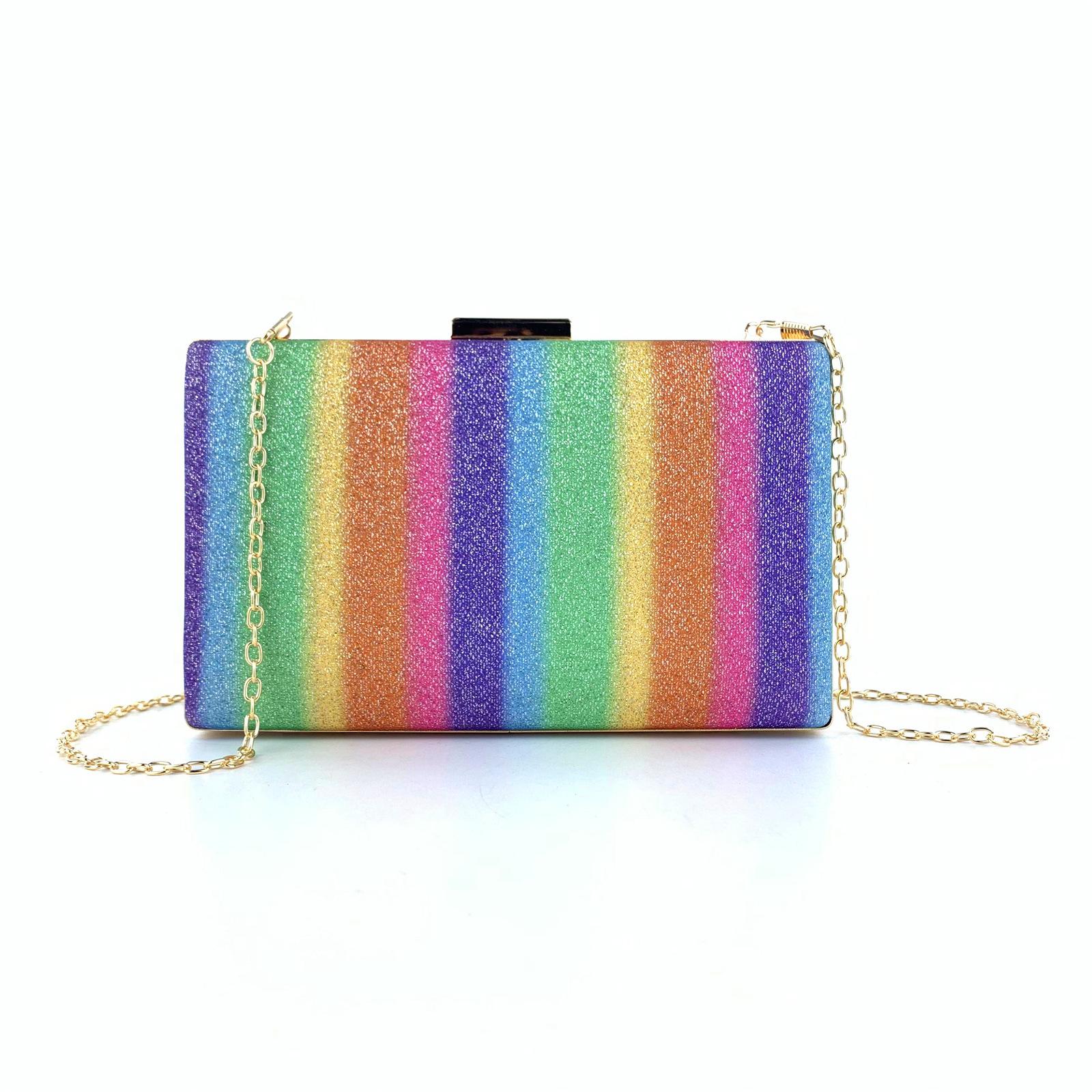 Rainbow Stripe Sequin Gold Chain Evening Bag