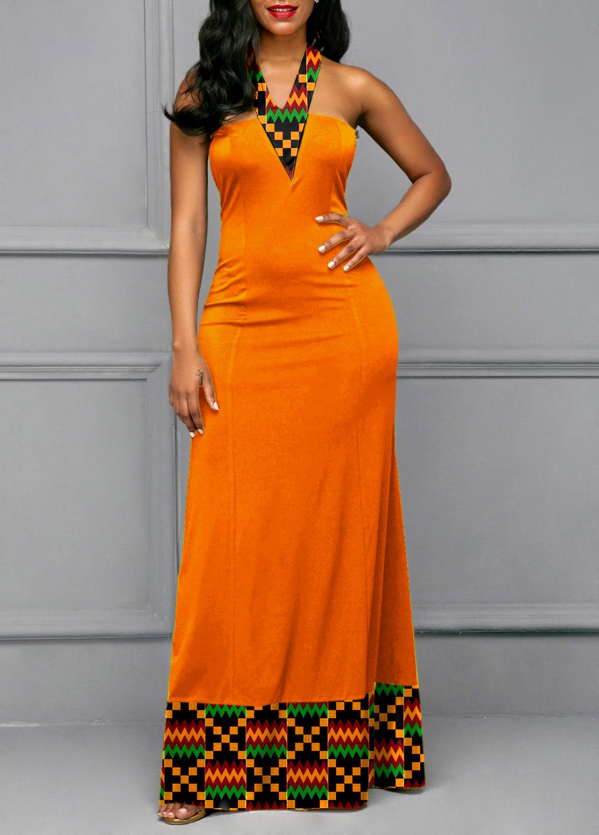 ROTITA Tie Back Tribal Print Maxi Dress