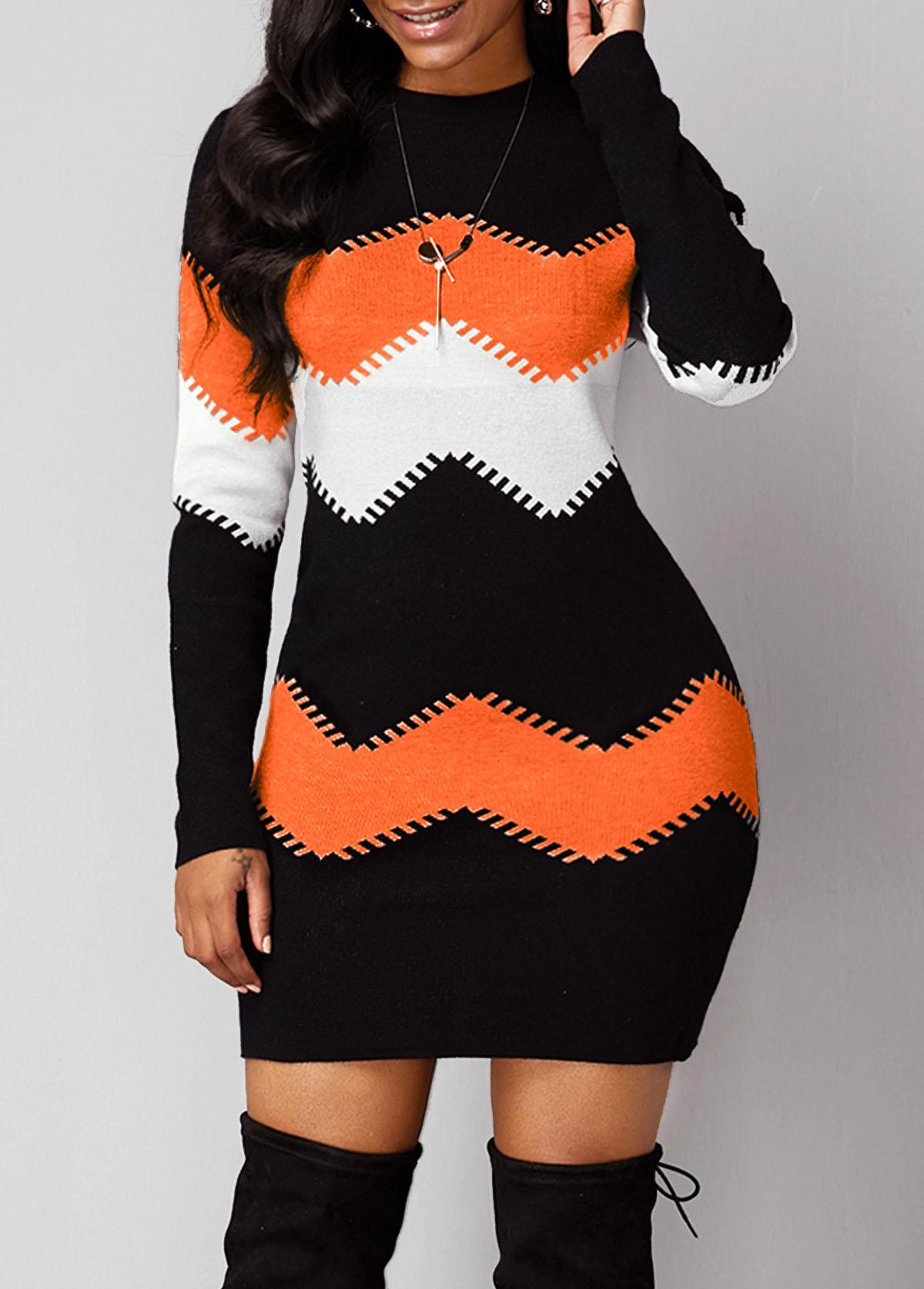 Chevron Print Long Sleeve Round Neck Sweater Dress
