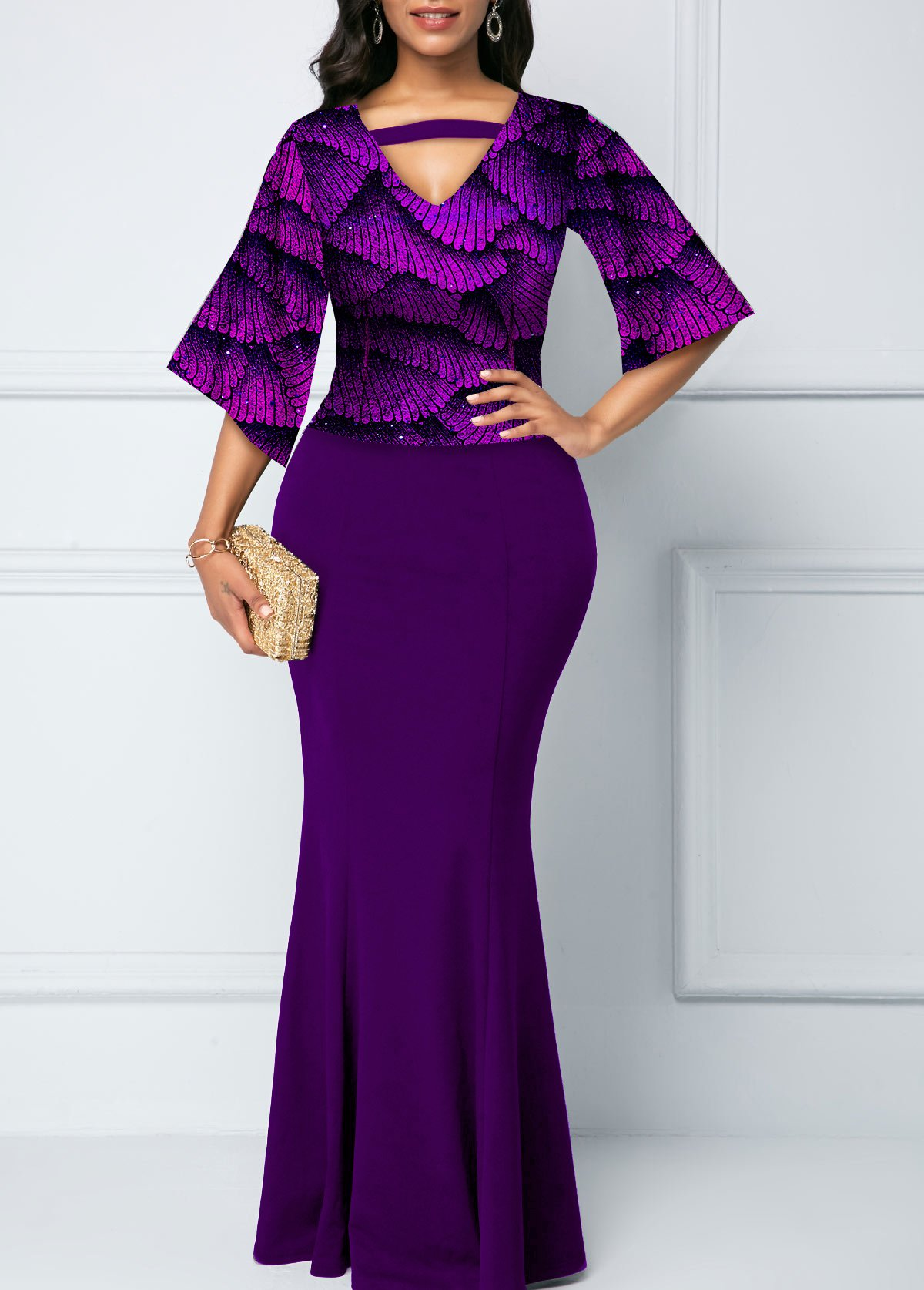 ROTITA Sequin Hot Stamping Print 3/4 Sleeve Mermaid Dress