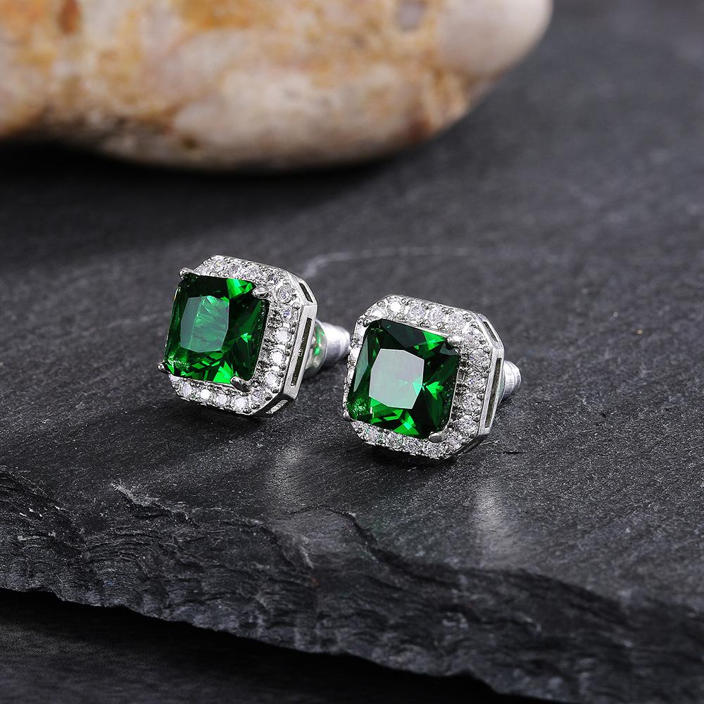 1 Pair Square Rhinestone Emerald Earrings