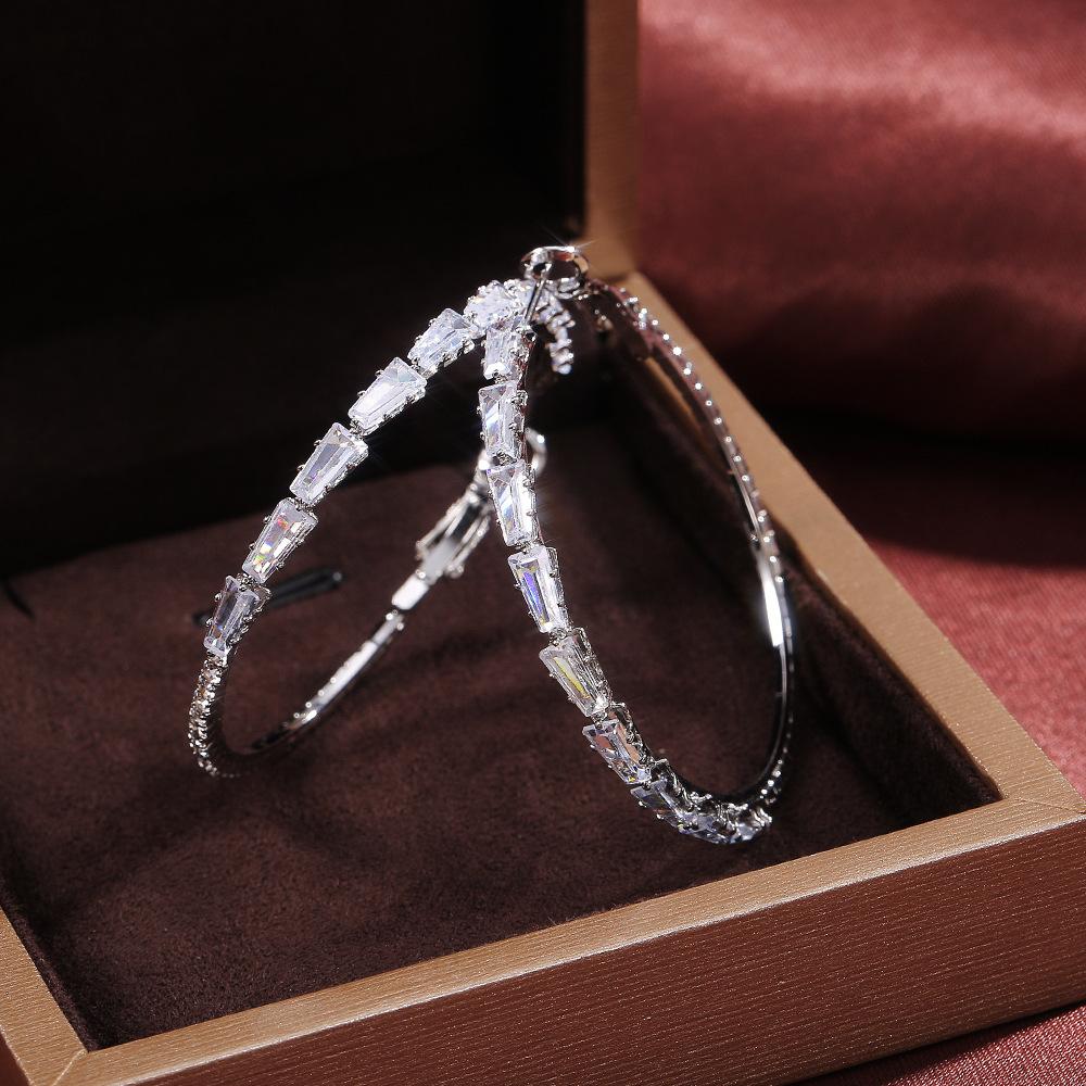 Silver Rhinestone Circular Design Earring Set