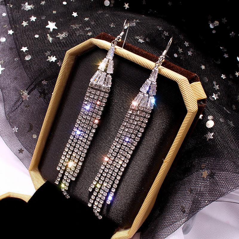 Rhinestone Tassel Design Silver Earring Set