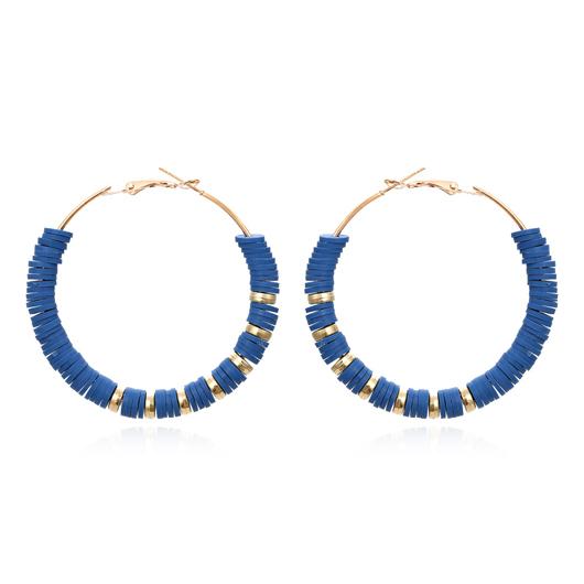 Metal Resin Circle Detail Blue Earring Set