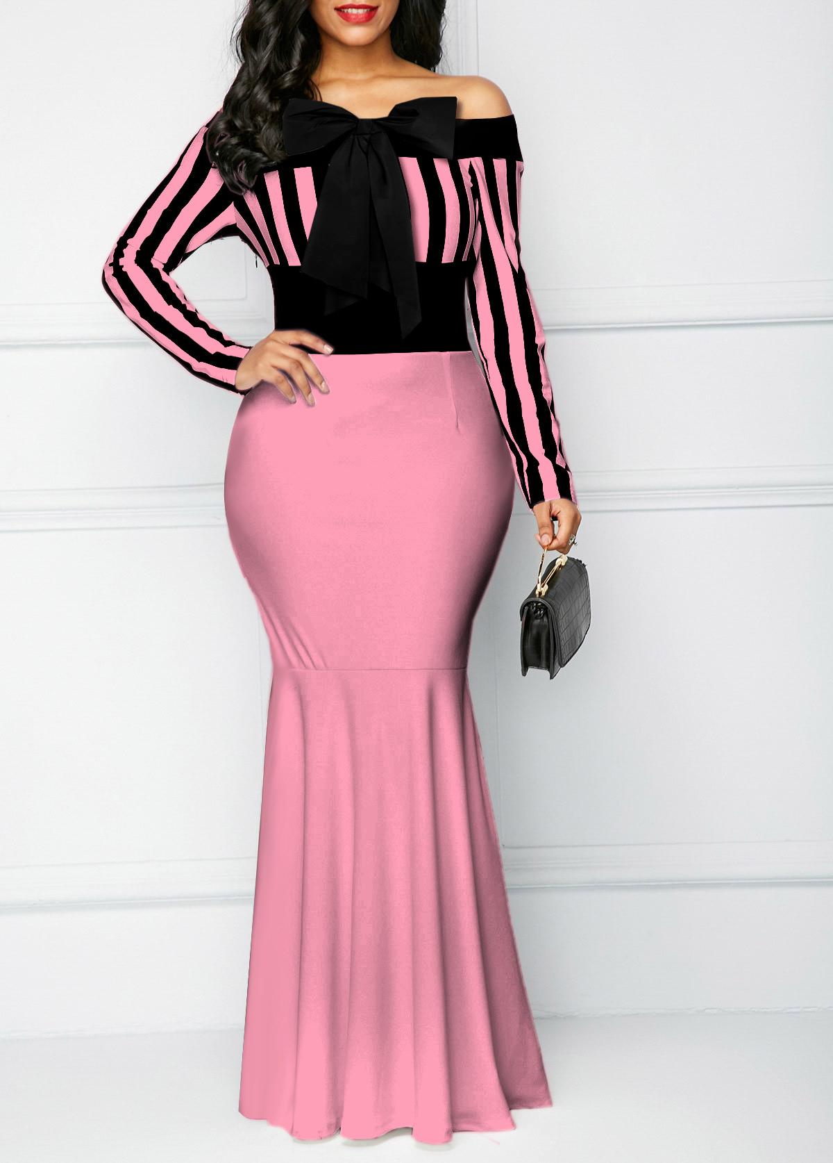 ROTITA Bowknot Off Shoulder Long Sleeve Dress